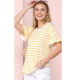 The Ritzy Gypsy SUN BUM Striped Ruffle Sleeve Top