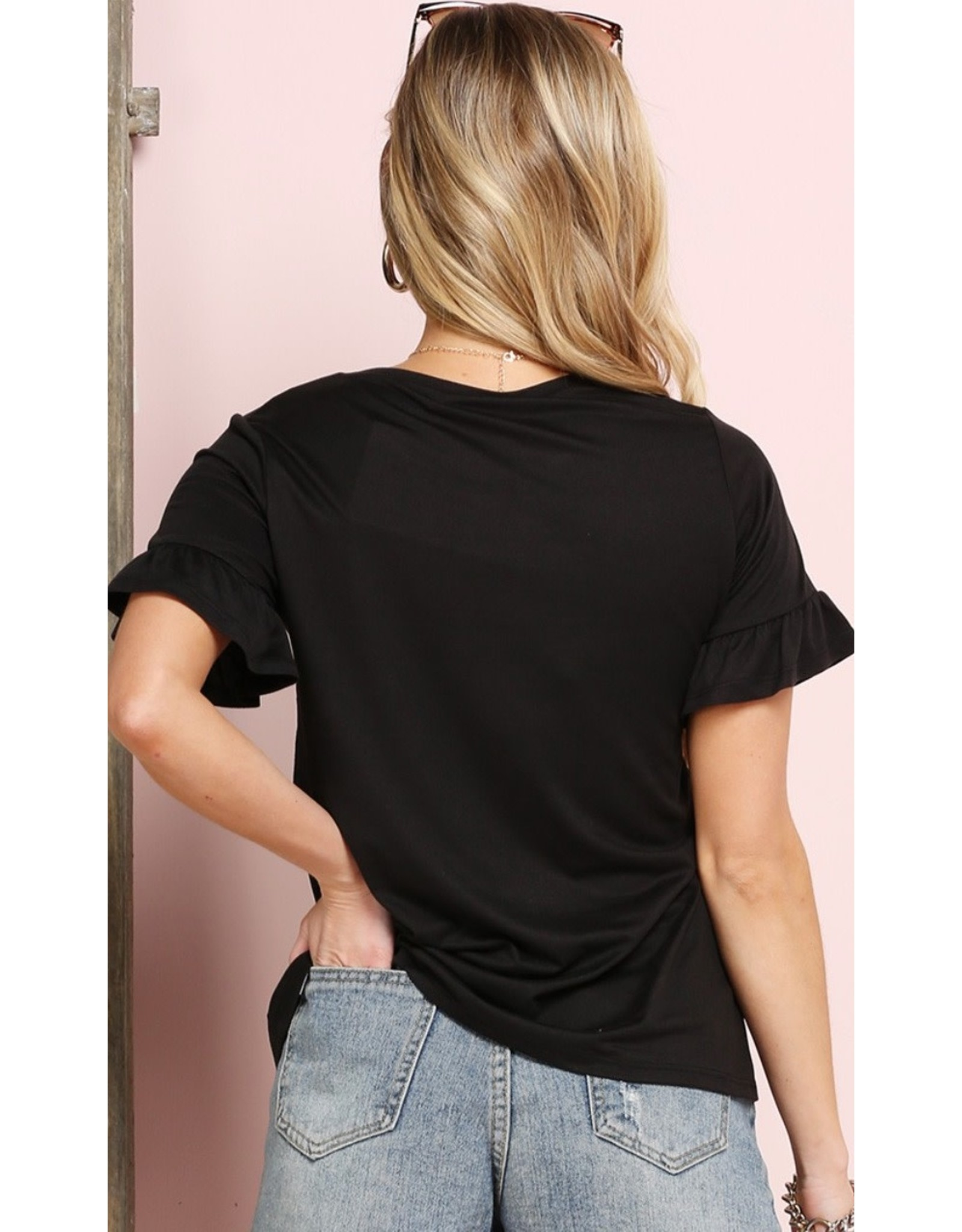 The Ritzy Gypsy JEN Black Ruffle Sleeve Top