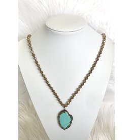 The Ritzy Gypsy STONE Blue Beaded Necklace