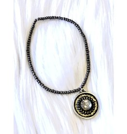 The Ritzy Gypsy GUNMETAL Stretch Bracelet with Charm