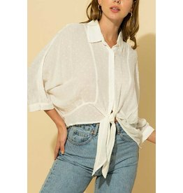 The Ritzy Gypsy OFF WHITE Button Up Top