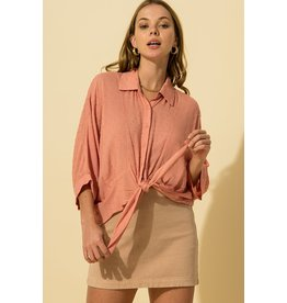 The Ritzy Gypsy DUSTY PINK Button Up Top