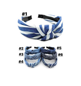 The Ritzy Gypsy SHADES OF BLUE Striped Knot Headband