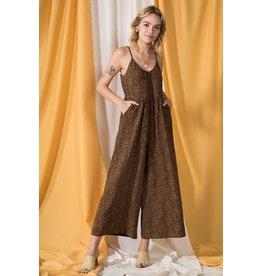 The Ritzy Gypsy CHELSEA B Leopard Wide Leg Jumpsuit