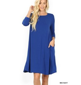 The Ritzy Gypsy AINSLEY 3/4 Sleeve A-Line Dress with Pockets (Royal)