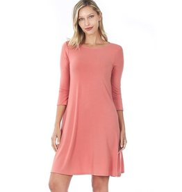 The Ritzy Gypsy AINSLEY 3/4 Sleeve A-Line Dress with Pockets (Ash Rose)