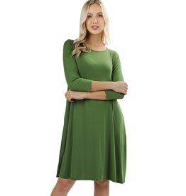 The Ritzy Gypsy AINSLEY 3/4 Sleeve A-Line Dress with Pockets (Kiwi)