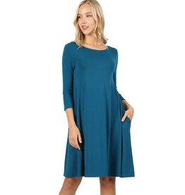 The Ritzy Gypsy AINSLEY 3/4 Sleeve A-Line Dress with Pockets (Teal)