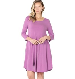 The Ritzy Gypsy AINSLEY 3/4 Sleeve A-Line Dress with Pockets (Lilac)