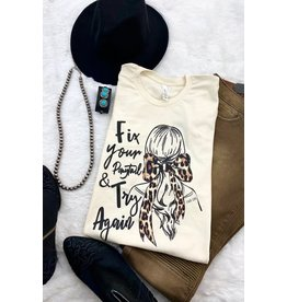 The Ritzy Gypsy TRY AGAIN Leopard Ponytail Graphic Tee