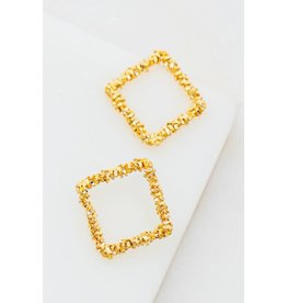 The Ritzy Gypsy WILL Textured Square Earring
