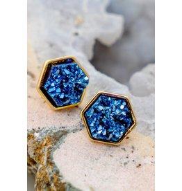 The Ritzy Gypsy WATERFRONT Druzy Stud Earring (Blue)