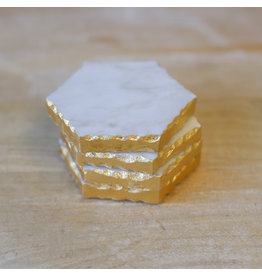The Ritzy Gypsy MARBLE AND GOLD Coaster Set