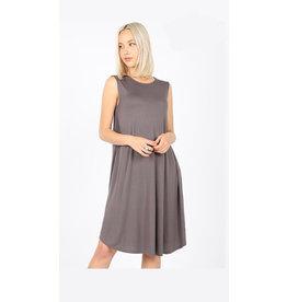 The Ritzy Gypsy NAOMI Flared Dress with Pockets (Gray)