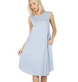 The Ritzy Gypsy NAOMI Flared Dress with Pockets (Blue)