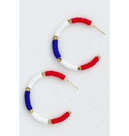 The Ritzy Gypsy RED WHITE & BLUE Hoop Earring