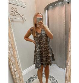 fashingo KAREN V-Neck Camo Dress