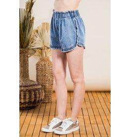 The Ritzy Gypsy KAITYN Acid Wash Ruffle Denim Shorts