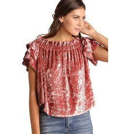 The Ritzy Gypsy SADIE GIRL Velvet Top with Ruffle Sleeves