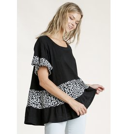 The Ritzy Gypsy MADZY Black And Leopard Top With Ruffle Sleeve