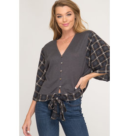The Ritzy Gypsy MARY BETH Front Tie V-Neck Blouse