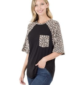 The Ritzy Gypsy BRYNN Leopard sleeve patch pocket top (BLACK)