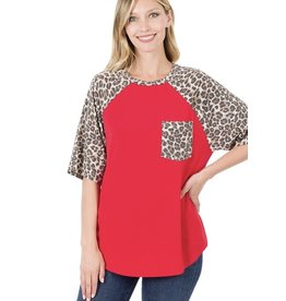 The Ritzy Gypsy BRYNN Leopard sleeve patch pocket top (RED)