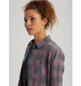 BURTON BURTON Grace Long Sleeve Flannel Dark Slate Heather Buffalo Plaid