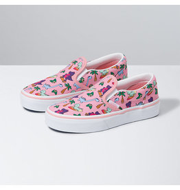 VANS VANS Classic Slip-On (Surf Dinos) Pink Icing/true White