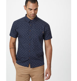TENTREE TENTREE Men's Cotton Short Sleeve Button Up Dark Ocean Blue-Small Tree AOP