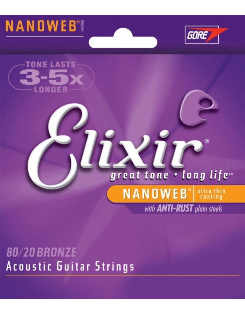 ELIXIR ELIXIR Medium Acoustic 80/20 Bronze With Nanoweb Coating (.013 - .056)