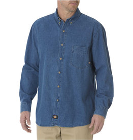 DICKIES DICKIES Longsleeve Button-Down Denim Shirt Stonewashed Indigo Blue