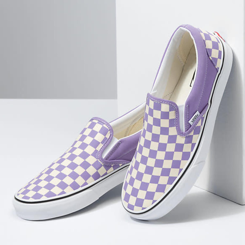 VANS VANS Checkerboard Classic Slip-On Chalk Violet/True White