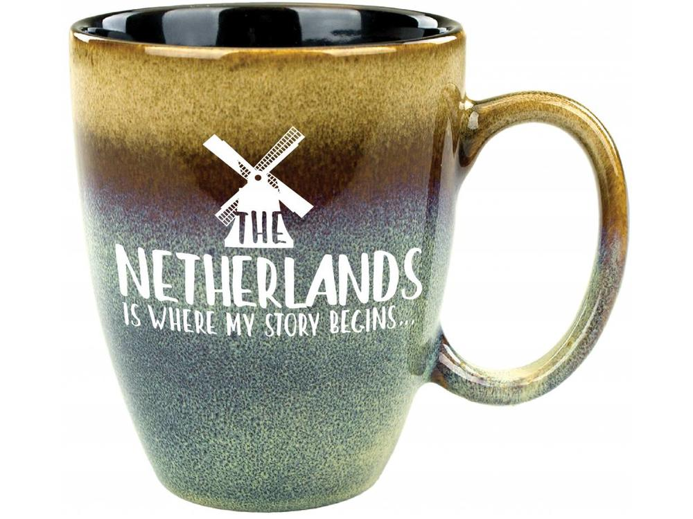 Netherlands Is Where My Story Begins Mug Blue toTan 15 oz