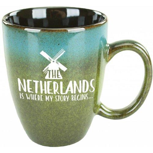 Netherlands is Where My Story Begins Blue Green Mug 15 oz