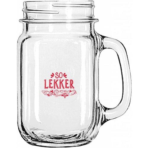 Soo Lekker Glass Mason jar w handle 12 oz