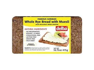 Delba Delba Whole Rye Bread with Muesli 16oz 12/cs