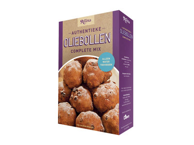 Atlanta Oliebollen Mix 17.5 oz box dated July 30