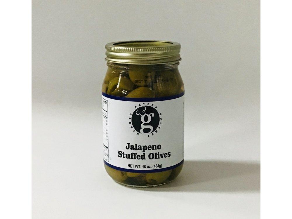 Peters Gourmet Foods PGM Jalepeno Stuffed Olives 16 oz