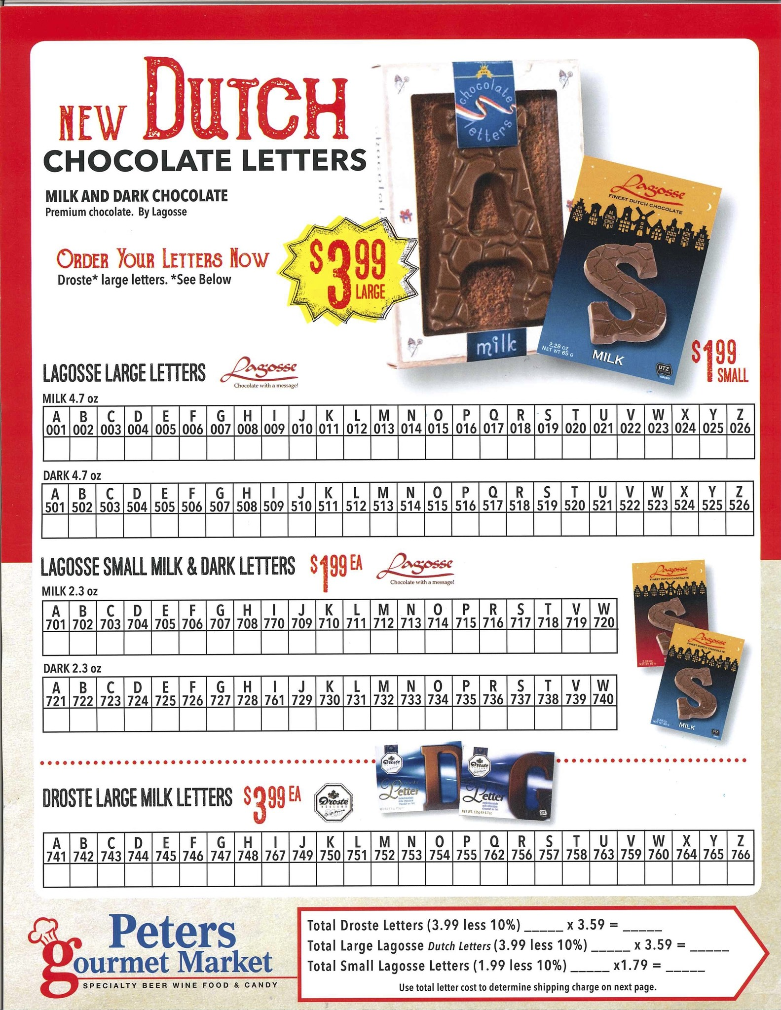Chocolate Letter Form