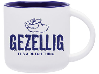 Gezellig is a Dutch Thing white & blue matte mug