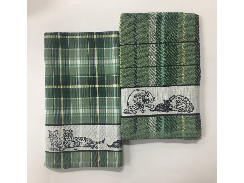 DDDDD DDDDD Family Cat Green Tea & Hand Towel Set