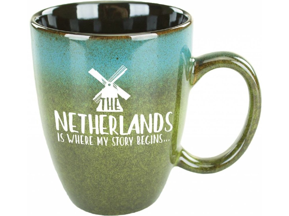 Netherlands is Where My Story Begins Blue Green Mug 15 oz