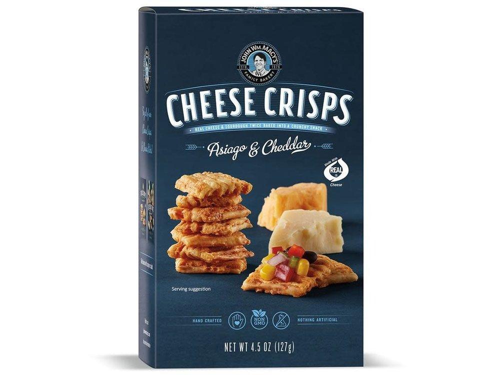 John Macy Asiago & Cheddar Cheese Crisp 4.5 Oz Box