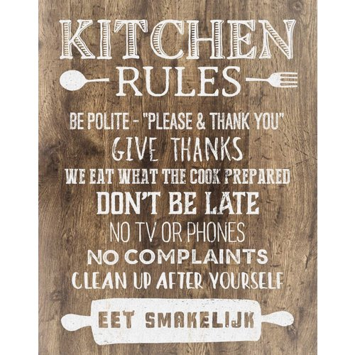 Kitchen Rules Sign - 11x14 inches