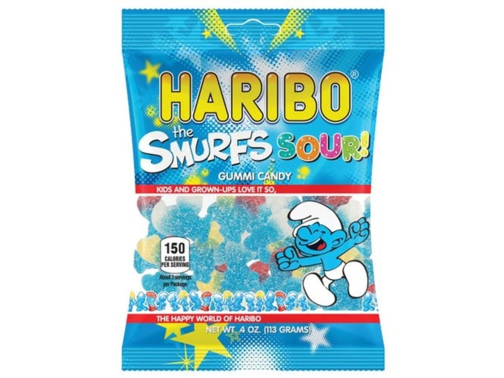 Haribo Haribo Sour Smurf Gummi Candy 4oz Bag 12/cs
