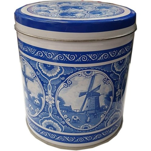 KM Stroopwafel tin Delft  windmill Design  8.8 oz
