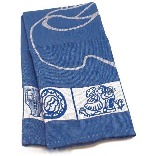 Twentse Tea Towel Dutch Blue Shoe  24 x 24 inch