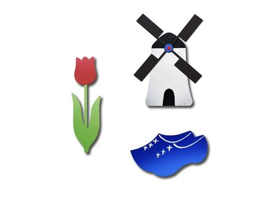 Roeda Studio Dutch magnets 3 pack Tulip Mill & wooden shoe