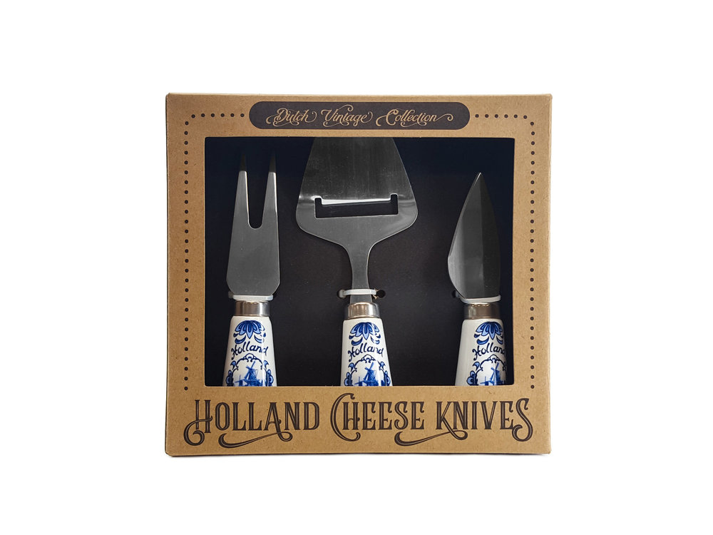 Nelis Imports Cheese Knives Delft Handle Set of 3 Boxed